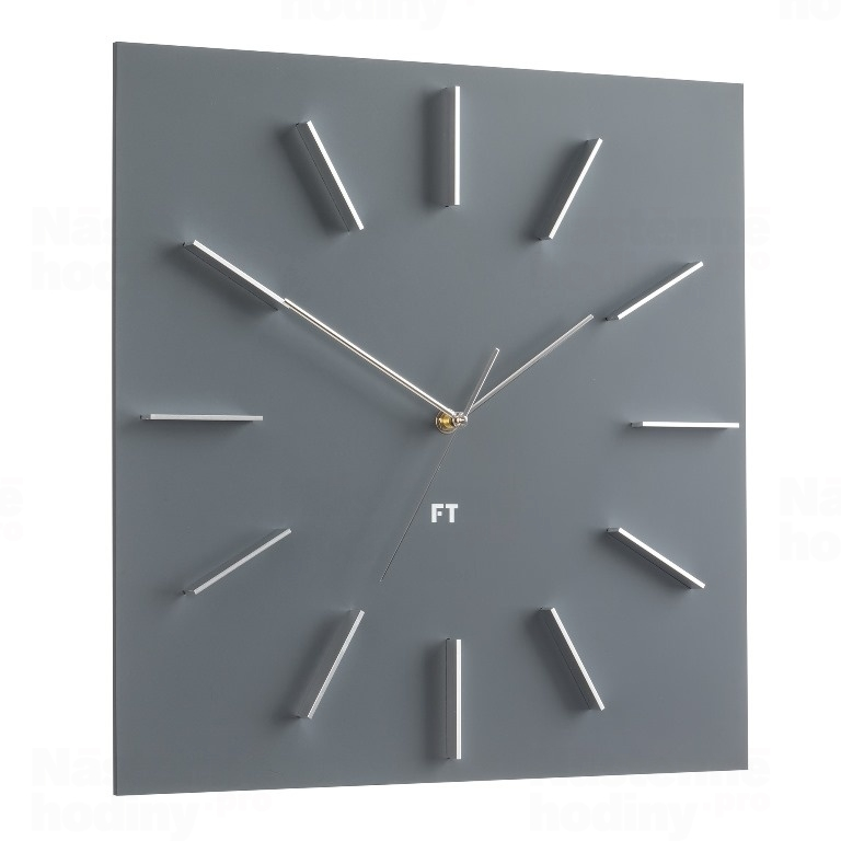 horloge murale future time ft1010gy square grey 40cm future. Black Bedroom Furniture Sets. Home Design Ideas